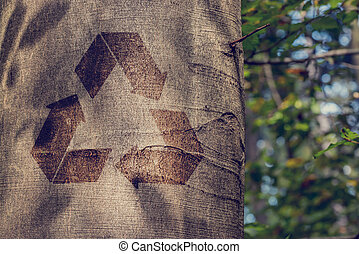 Recycling symbol on the trunk of a tree outdoors in woodland in a conceptual image of re-use, recycling, conservation and preservation.