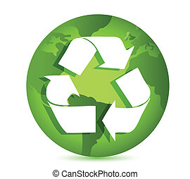 Recycling symbol over Earth globe