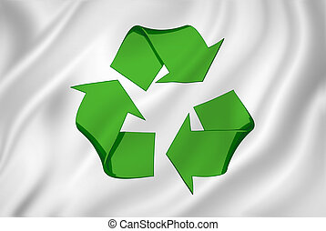 Recycling Symbol SIgn on White Banner