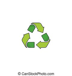 Recycling symbol vector logo isolated on white background