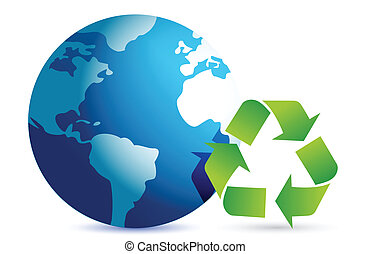 recycling symbol with an earth globe