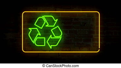 Recycling symbol in neon light stylizing animation. Abstract concept with ecology symbol and leaf icon.