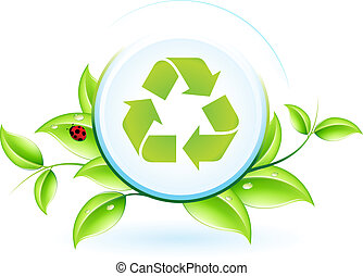 Recycling Symbol with Leaves and Ladybird