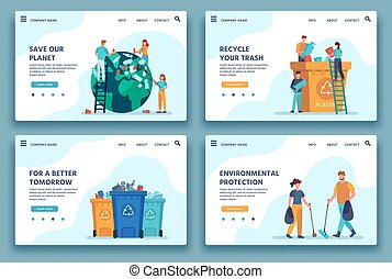 Recycling trash landing page. People collecting and sorting garbage for recycle. Eco lifestyle. Reduce environment pollution web site vector. Illustration collecting and sorting junk