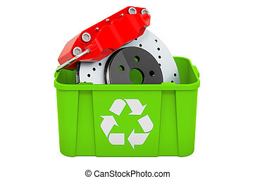 Recycling trashcan with car disc brake, 3D rendering