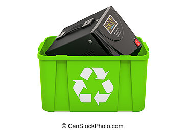 Recycling trashcan with voltage stabilizer, 3D rendering isolated on white background