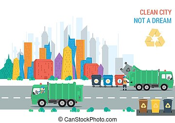 Recycling truck at work in city - Vector flat concept clean...