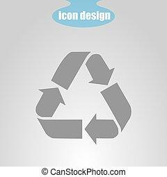 recycling, vector, pictogram, grijs, illustratie, achtergrond.