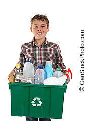 recycling, verdragend, vrolijke , jongen, vuilnis
