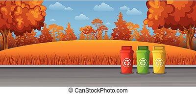 recycling, vuilnisbakken, op de straat