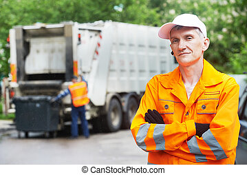 Recycling waste and garbage - Portrait of municipal worker...
