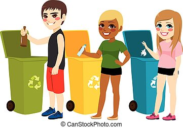 Recycling Waste Sorting - Young teenager boy and girls...