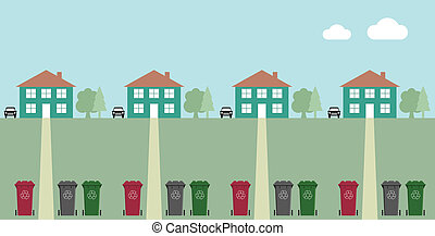 recycling wheelie bins - Houses along street with recycling...