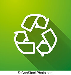 Recycling white icon with long shadow on green background, ecology illustration