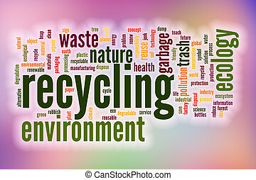 Recycling word cloud with abstract background