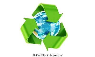 Recycling world concept. Recycle symbol rotating around the...