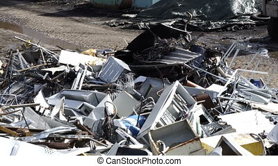 Recycling Yard Scrap Metal Pile Handheld - High angle...