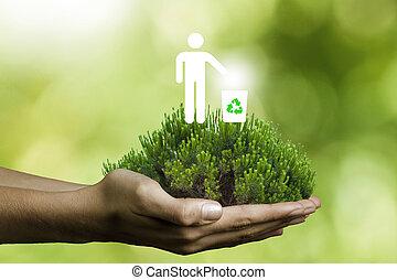 recyklace, strom, pojem, ruce
