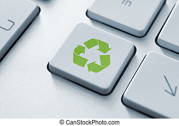 recyklovat, knoflík, dále, klaviatura