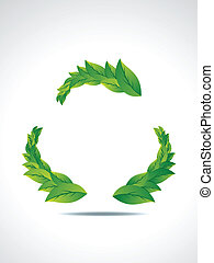 Recyle Icon With Leaf vector