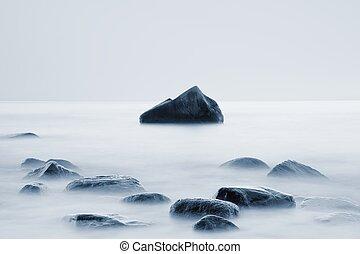 redőny, sziklás, egyszintű, sima, hatás, lesiklik, víz, ...