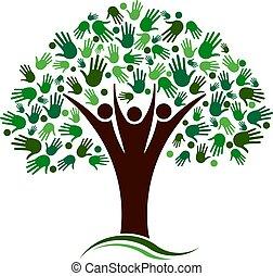 red, árbol genealógico, vector, manos, logotipo