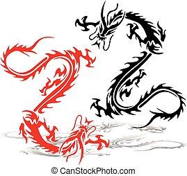 (red, ドラゴン, black), 2, fight., 入れ墨, 背景, シルエット, 白