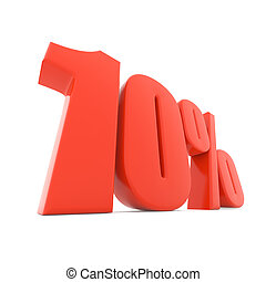 Red 10% discount sign isolated on white background.