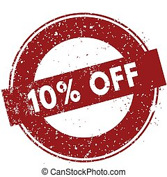 Red 10 PERCENT OFF rubber stamp illustration on white background