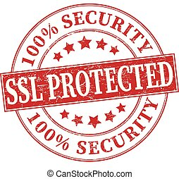 red 100% security ssl protected grungy round rubber stamp illustration