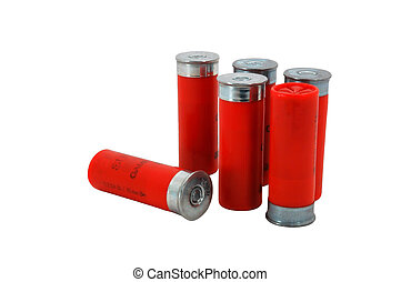 Red 12 Gage Shotgun shells - Six red 12 gage (GA) shotgun...