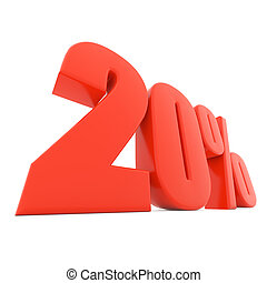 Red 20% discount sign isolated on white background.