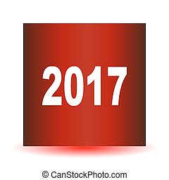 Red 2017 symbol, icons or button isolated on white background