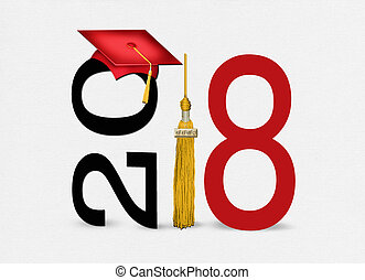 red 2018 graduation cap and tassel