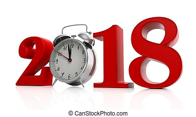 Red 2018 with alarm clock on white background. 3d...