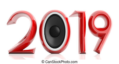 Red 2019 with two speakers isolated on white background. 3d illustration