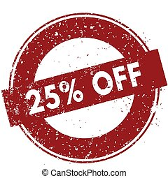 Red 25 PERCENT OFF rubber stamp illustration on white background