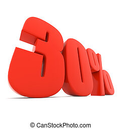 Red 30% discount sign isolated on white background.