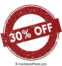 Red 30 PERCENT OFF rubber stamp illustration on white background