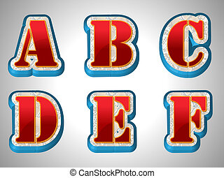 Red 3D Alphabet With Big Font Style
