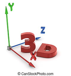 3D space coordinate system with colourful arrows for each dimension - red X, green Y, blue Z - red shiny letters 3 D in front