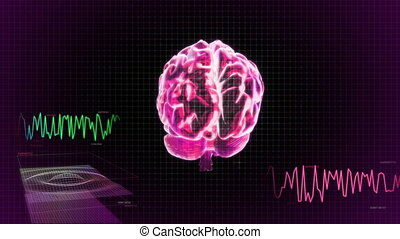 red 3d brain wave scanning screen