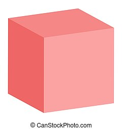 Red 3D cube isolated on white