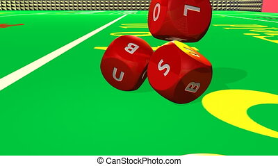 red 3D dices falling