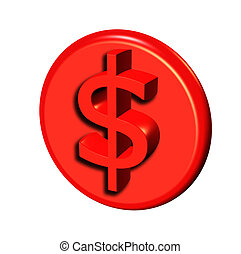 red 3d dollar button