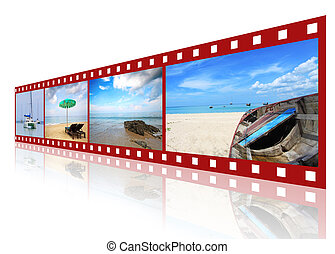 red 3D film strip with nice pictures of andaman scene