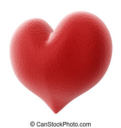 Red 3D heart isolated on white background.
