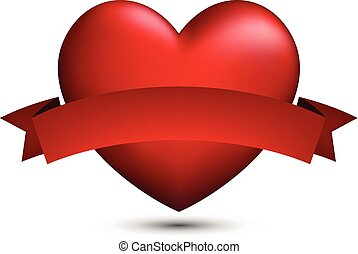 Red 3d heart with ribbon.