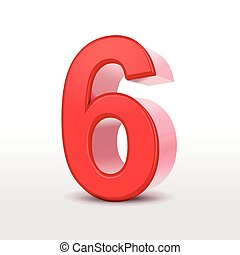 red 3d number 6