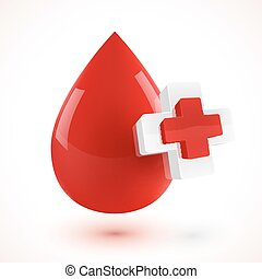 Red 3D style vector blood drop with plus symbols